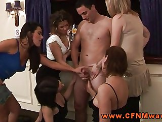 CFNM femdom group be required of babes sucking