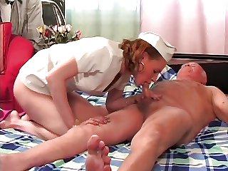 Old grandpa fucks busty nurse