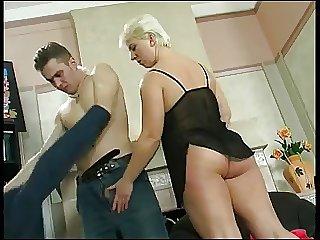 Blonde cougar sucks dick and fucks
