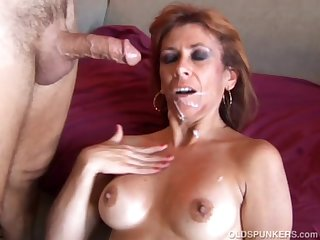 Sexy old spunker loves to be thrilled by and sticky facial cumshots