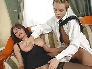 Superb Hairy Matured Squirts While Fucking Young Cock