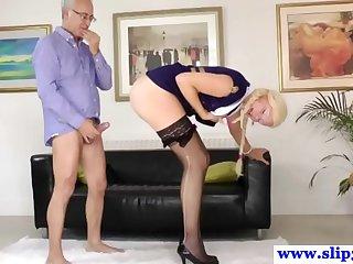 Classy babe devours age-old mans hard horseshit