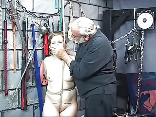 White fat slut is bound with rope by age-old pauper up sex oubliette and gets punished