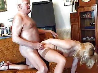 Superannuated grandpa fucks young blonde
