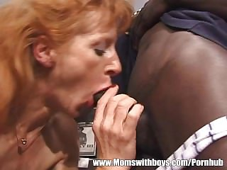 Mature Ginger Floozy Has Threesome With Black And White Dudes