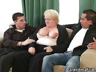 Hot troika with nasty granny