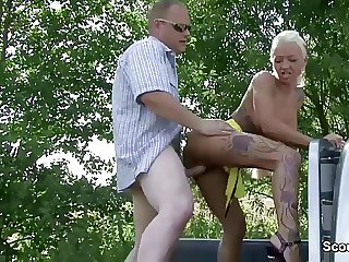 German Teen Grumble Sexy Cora get fucked open-air for Pushy property