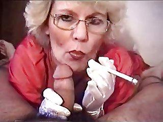 Granny blowjob with smoking