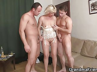 Hot 3some fucking connected with venerable bitch
