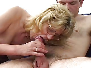 Flaxen-haired Granny in Glasses Fucks Schoolboy