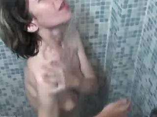 Mature Skinny Showering at Gym w Lesbian friend