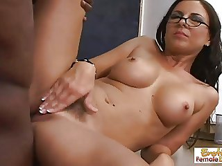 MILF teacher in glasses bangs the brush hung dark student