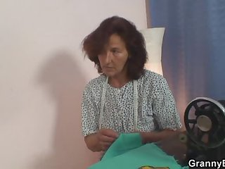 Sewing granny takes cock