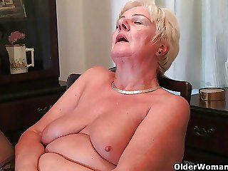 64 domain aged with an increment of British granny Sandie rubs her aged pussy