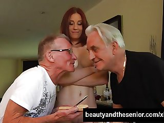 Teen honey take two superannuated dicks