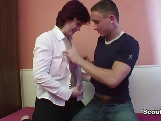 Mama seduce german collaborate be advantageous to her son to have a passion her pussy