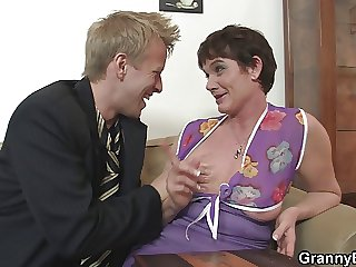 Their way soft old pussy is drilled by stiff young cock