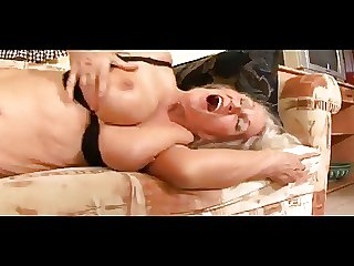 Granny Toys Her Meaty Pussy Then Gets Drilled