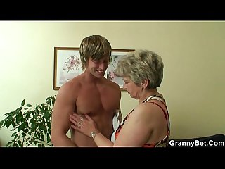 Hot baffle bangs lonely granny