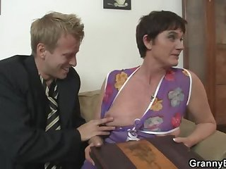Old matriarch spreads her legs for hard cock