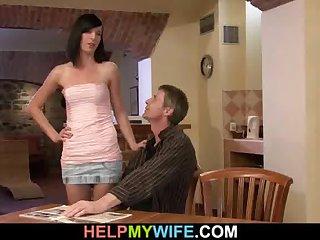 Lovely brunette cuckolds her older husband