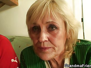 Blonde granny pleases twosome suite