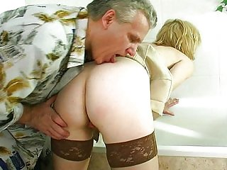 Old man gets a young a handful of