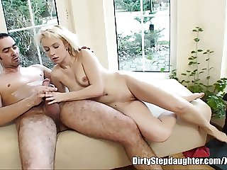 Vulgar Blonde Stepdaughter Sucking Her Stepdad's Cock
