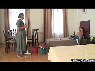 Morning sex almost mature cleaning woman