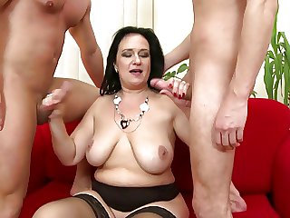 Mature sexual connection break away ma serves two young cocks