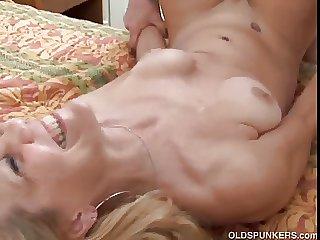 Slim blonde MILF enjoys a sticky facial cumshot
