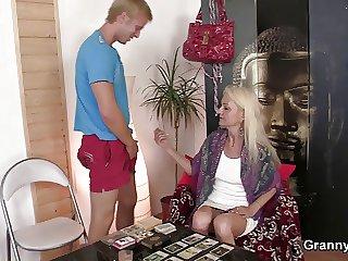Blonde skinny granny jumps on big meat