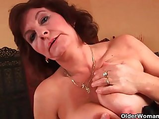 Grandma with big soul and hairy pussy gets facial