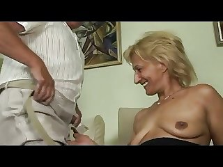 Blonde matured masturbates and sucks and fucks with confessor