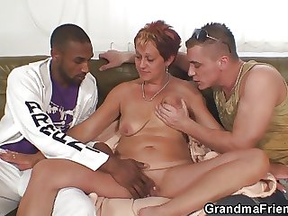 Interracial threesome orgy all over granny