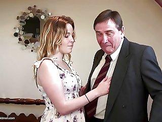 Elderly sky pilot seduces elegant young bird not his daughter