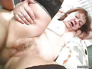 Redhead granny is not above moreover old for fucking