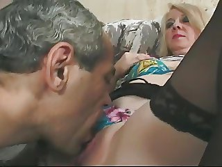 Fair-haired Granny just about Glasses and Lace Top Stockings Fucks