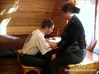 Young student fucks fat granny