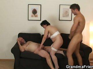 Nasty granny enjoys fucking yoke cocks