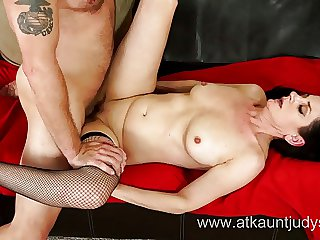 Milf Holy day Hughes fucks her younger lover not susceptible a love-seat