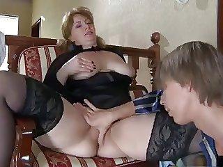 Beautiful progenitrix close to stockings & scrounger