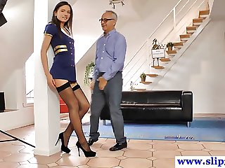 Tall uniformed teen all round stockings rides geriatric hard