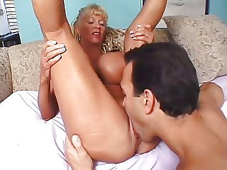 Older woman with beamy fake special gets fucked
