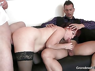 Lovely office lady enjoys two dicks on request on call