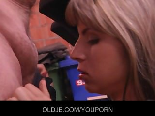 Young Gina pays along to old bill collector with her pussy