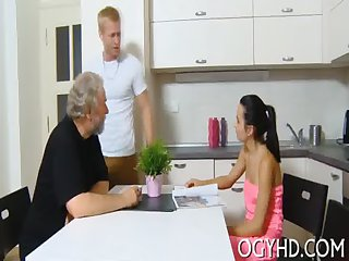 Young belle blows old jock