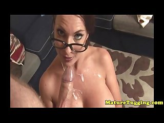 Mature handjob milf gets cum first of all bigtits