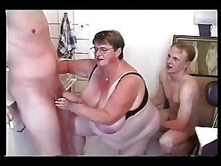 bbw mature to four young men
