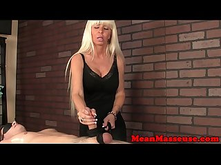 Mature femdom masseuse uses cbt around ruin sub